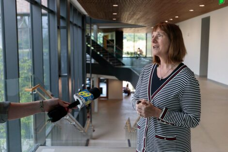 President Byerly is interviewed by WFMZ reporter inside Rockwell Integrated Sciences Center