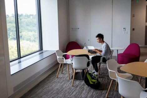 A quiet study spot inside Rockwell Integrated Sciences Center