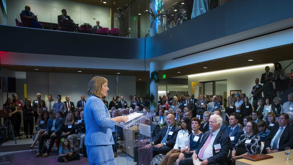 President Alison Byerly opened the dedication ceremony for the Rockwell Center