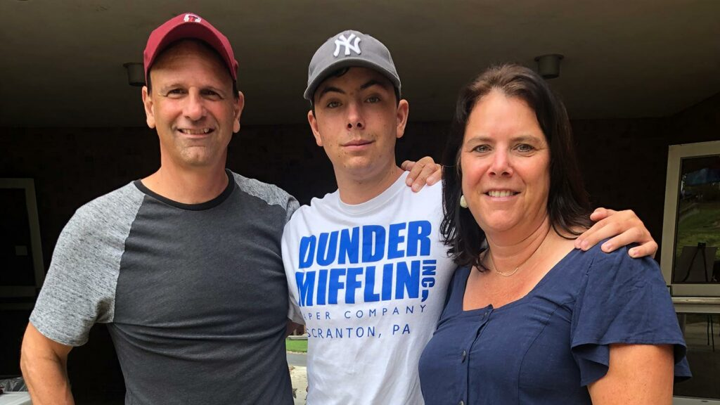 Sean '90, Chris '23, and Susan Lee Bluni '90
