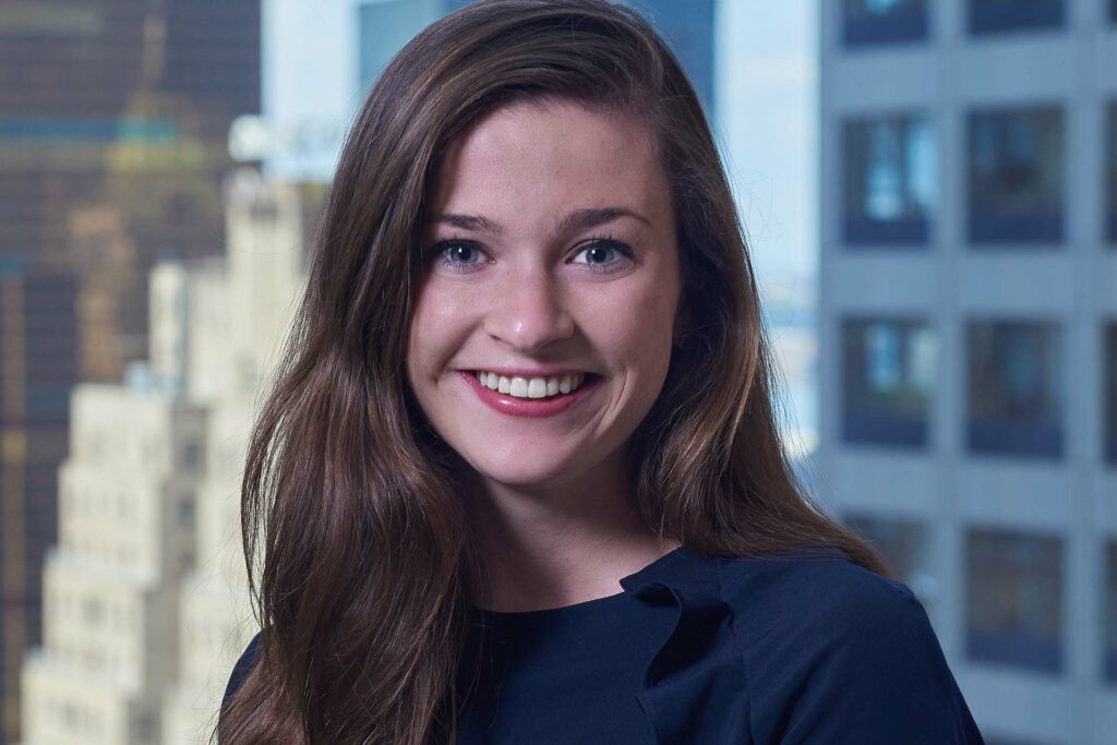 Bridget Coffey '19 with her professional headshot at her new PR employer