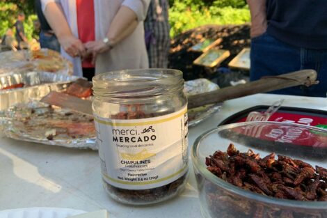 A jar of spicy grasshoppers is a condiment for the BBQ