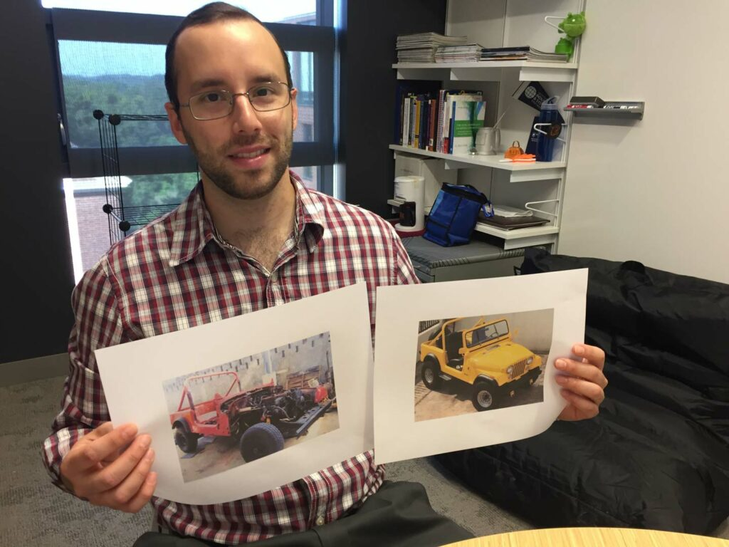 Christian Lopez Bencosme holds before-and-after photos of a 1985 CJ-7 Jeep he and his dad restored.