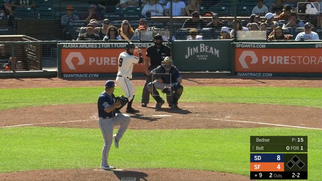 David Bednar '16 pitches in the ninth inning for the San Diego Padres against the San Francisco Giants.