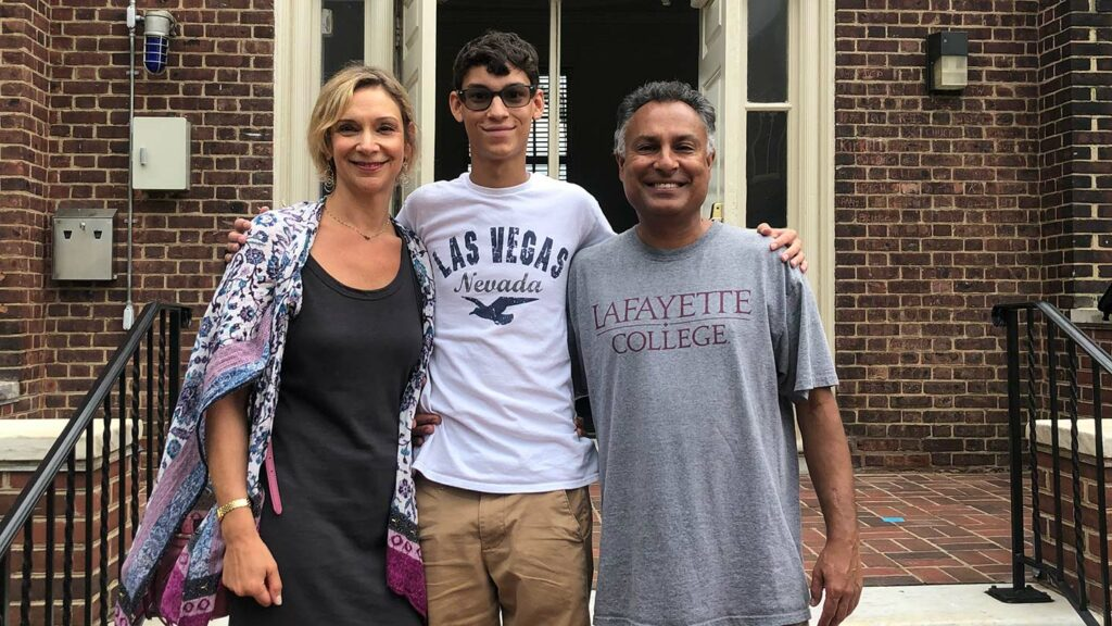 Michelle '90, Ryan '23, and Pankaj Papka