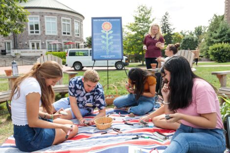 Students participate in Counseling Center and LaFarm-sponsored Thrive event on the Quad