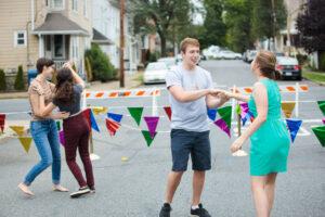swing dancing at block party