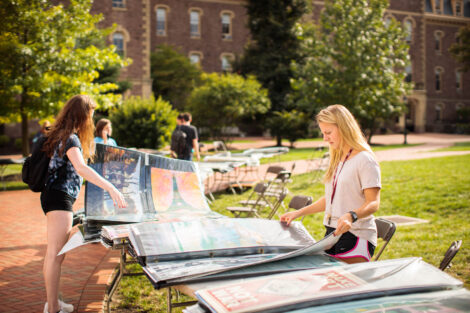 students browse posters for sale on the quad