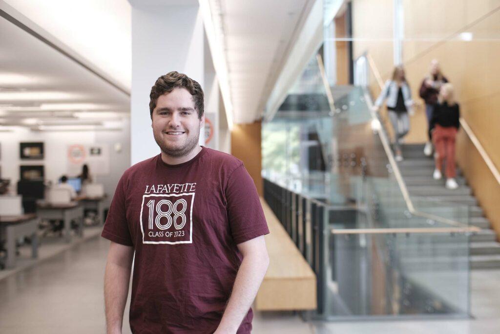 Charlie Mirsky '23 inside Skillman Library