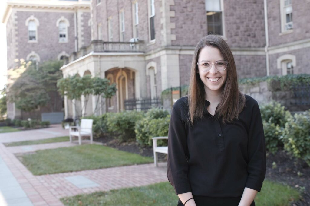 Amanda Pisetzner stands in front of old Pardee during a recent visit