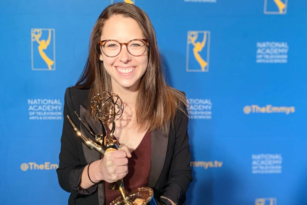 Amanda Pisetzner holds her Emmy on the nights of the big win