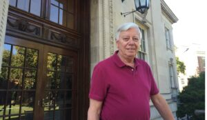 Professor John Kincaid stands outside the front of Kirby Hall of Civil Rights at Lafayette College.