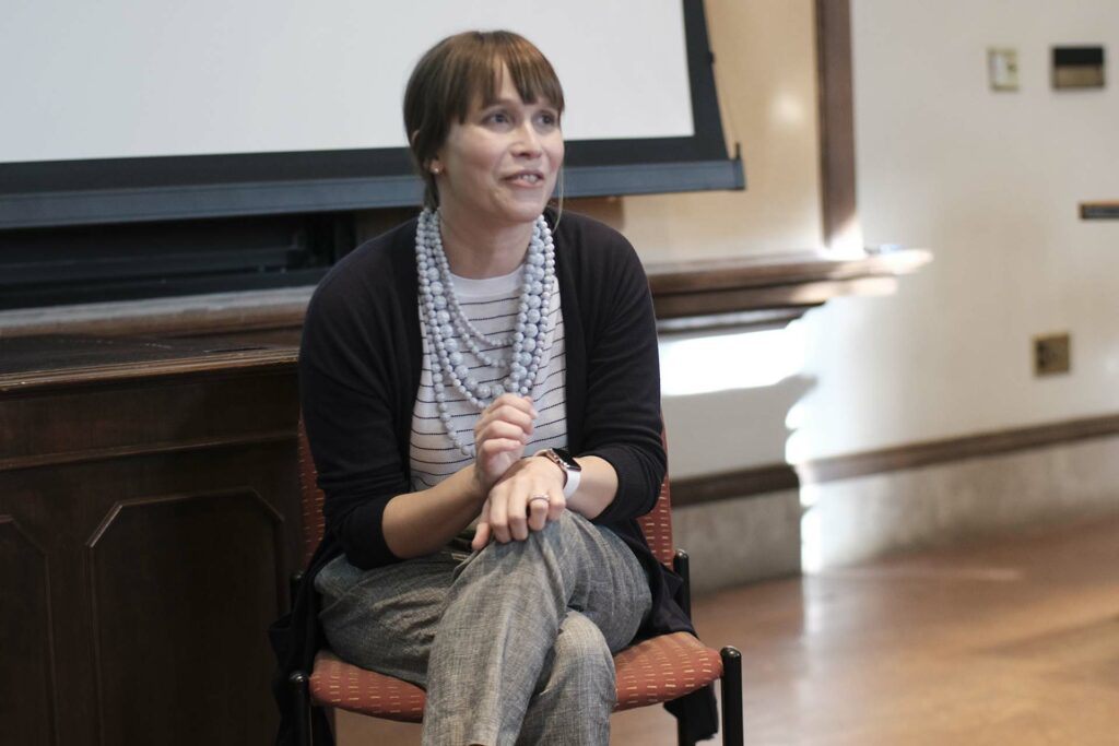 Kate Hope Day discusses writing with faculty, students, and guests in Kirby Hall of Civil Rights