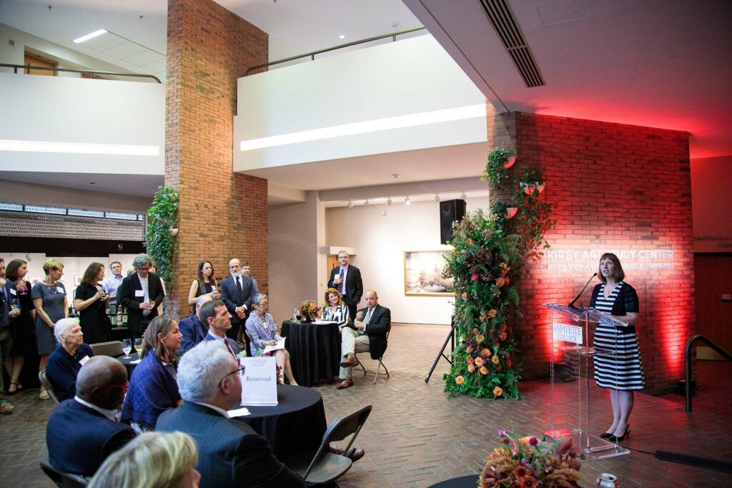President Byerly speaks to those gathered for the dedication