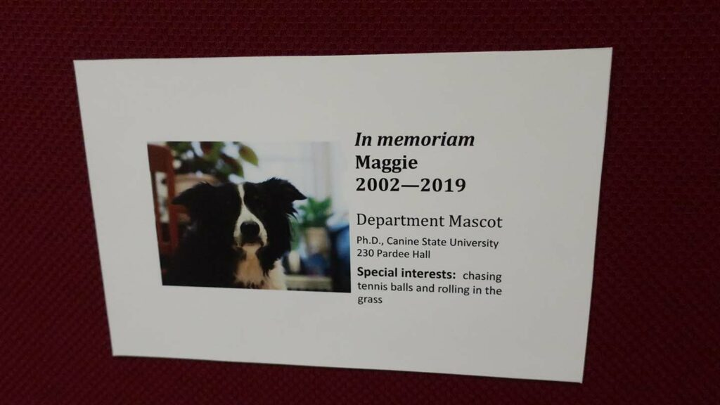 In Memoriam Maggie tribute sign hangs in the math department hallway