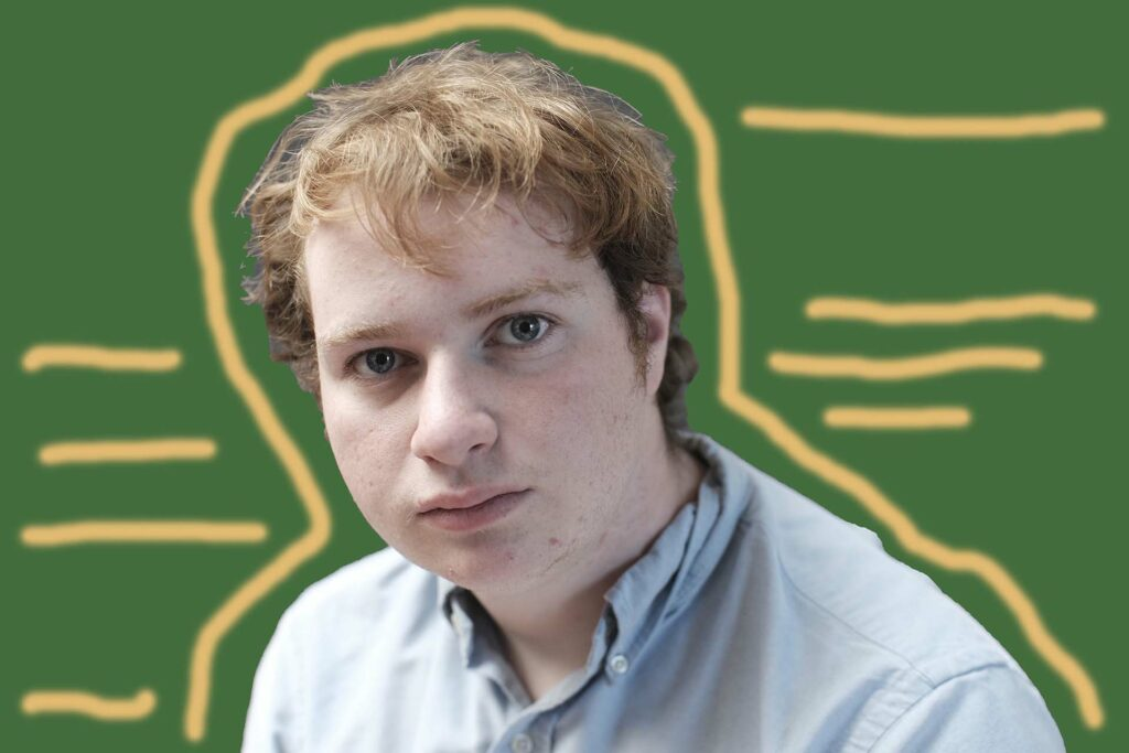 Image of Zach with green background and yellow lines