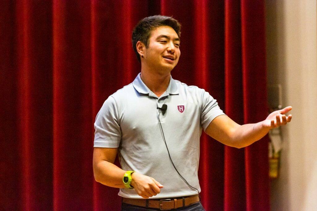 Schuyler Bailar speaks to the audience at Lafayette College's Colton Chapel.