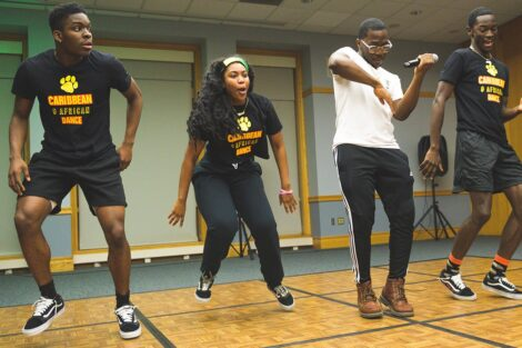 A group of students dance at the AfroCaribbean Showcase