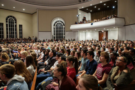 Students in the audience at Colton Chapel laugh while The Office star Brian Baumgartner, who portrayed Kevin Malone, speaks.