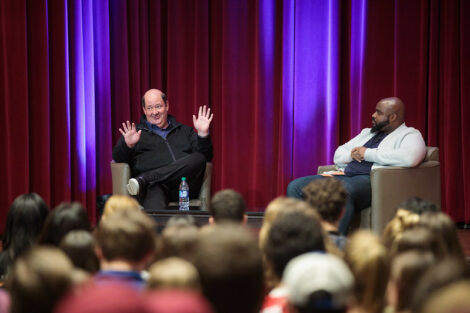 The Office star Brian Baumgartner, who portrayed Kevin Malone, gives a talk to a packed Colton Chapel audience.