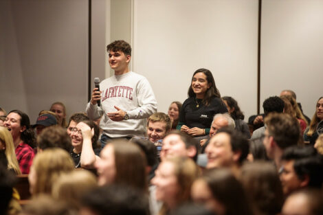 A student from the Colton Chapel audience asks a question of The Office star Brian Baumgartner, who portrayed Kevin Malone.