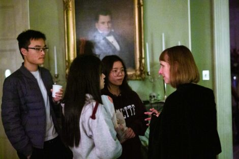 students talking with the president