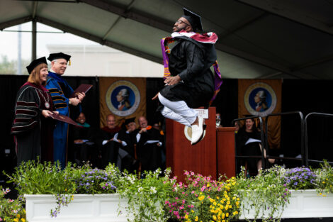 Charles Evans '19 stole the stage at graduation with an impressive jig before receiving his diploma.