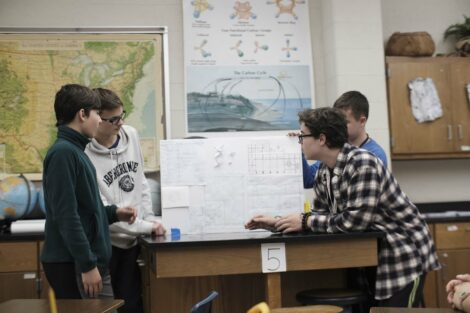 Adviser help ACE students as they prepare final presentations