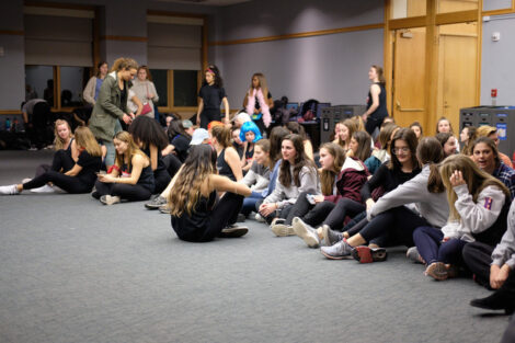sororities gather to show their dance moves in the marlo room
