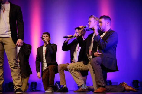 students sing at the a cappella concert in Williams center for the arts