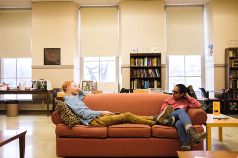 Mike Van Ness '20 and Trisha Agarwal '20 relax for a bit in the math lounge on the second floor of Pardee Hall. Max doesn't have that long because his thesis presentation is in 20 minutes.