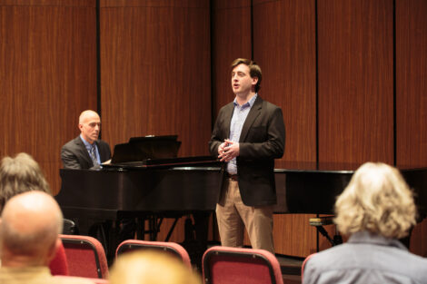 Students perform at the honors recital for students taking lessons