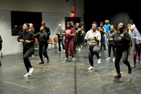 Members of Nobuntu lead students and staff in dancing demonstration