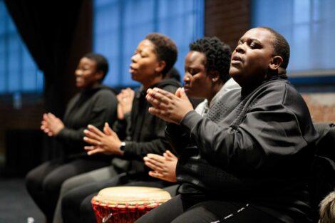 Members of the group Nobuntu sing in a workshop