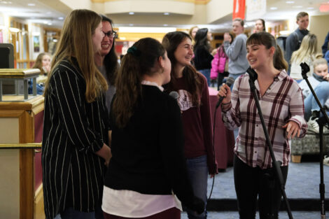 Students sing karaoke in farinon