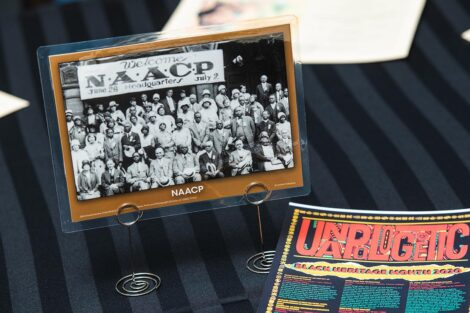 A table top sign for the NAACP Headquarters