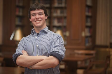 Matt Grandon '12 in Kirby Library