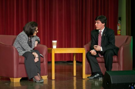 Matt Grandon '12 moderates discussion with Frances Hesselbein