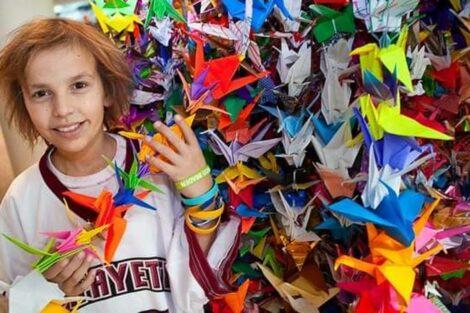 David Heard with paper cranes.