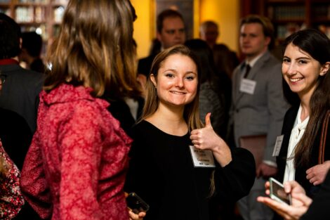 Student gives a thumbs up at Networking Nights