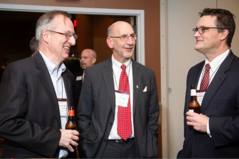 Alum talk and smile at Networking Night
