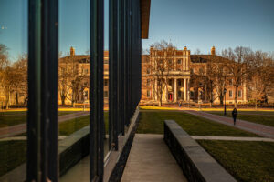 Markle Hall reflected in Skillman Library