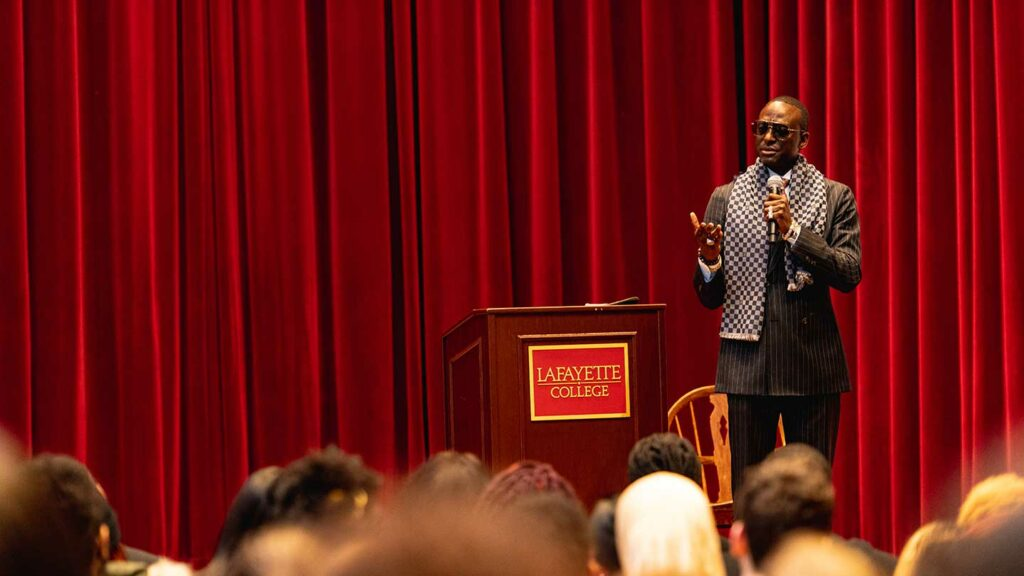 Yusef Salaam spoke to a packed audience in Colton Chapel for Black Heritage Month