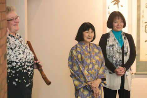 Fumiko Suesawa Green '84 stand alongside Shuho Kondo and Nora Nohraku Suggs