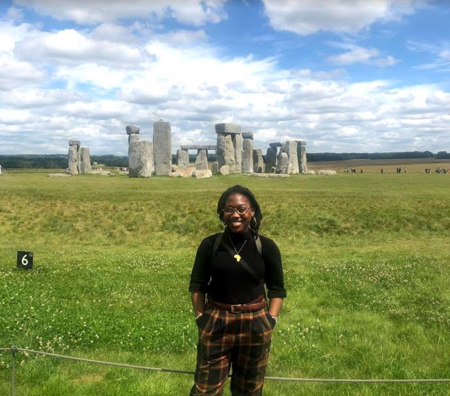 Grayce Walker '22 in front of stonehenge