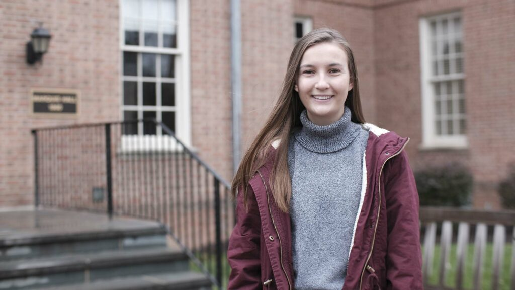 Elizaveta Makarova '21 stands outside Marquis Hall