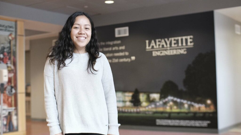 Liszeth Rodriguez-Meza '21 stands in Acopian Engineering