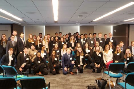 Group of students pose for NYC career track