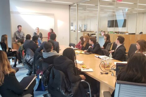 Students learn inside an office
