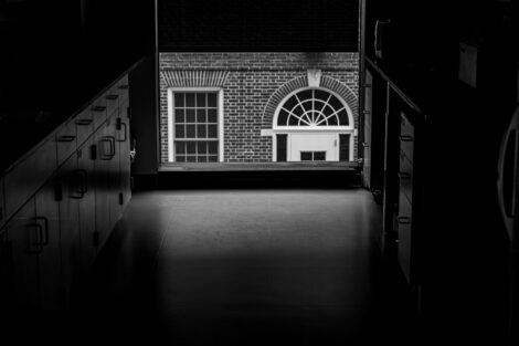 A peek at Rockwell's neighbor Watson Hall.